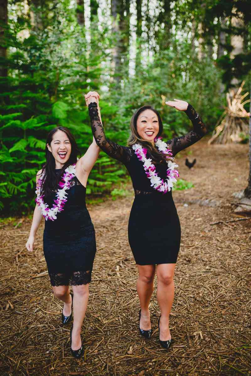 Two brides happy recessional